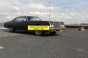 Zaterdag 16 juni: Chevrolet Impala custum coupe uit 1973 (Mat zwart) 5.7 liter small block +/- 220 pk. Deze Chevy is Vol!